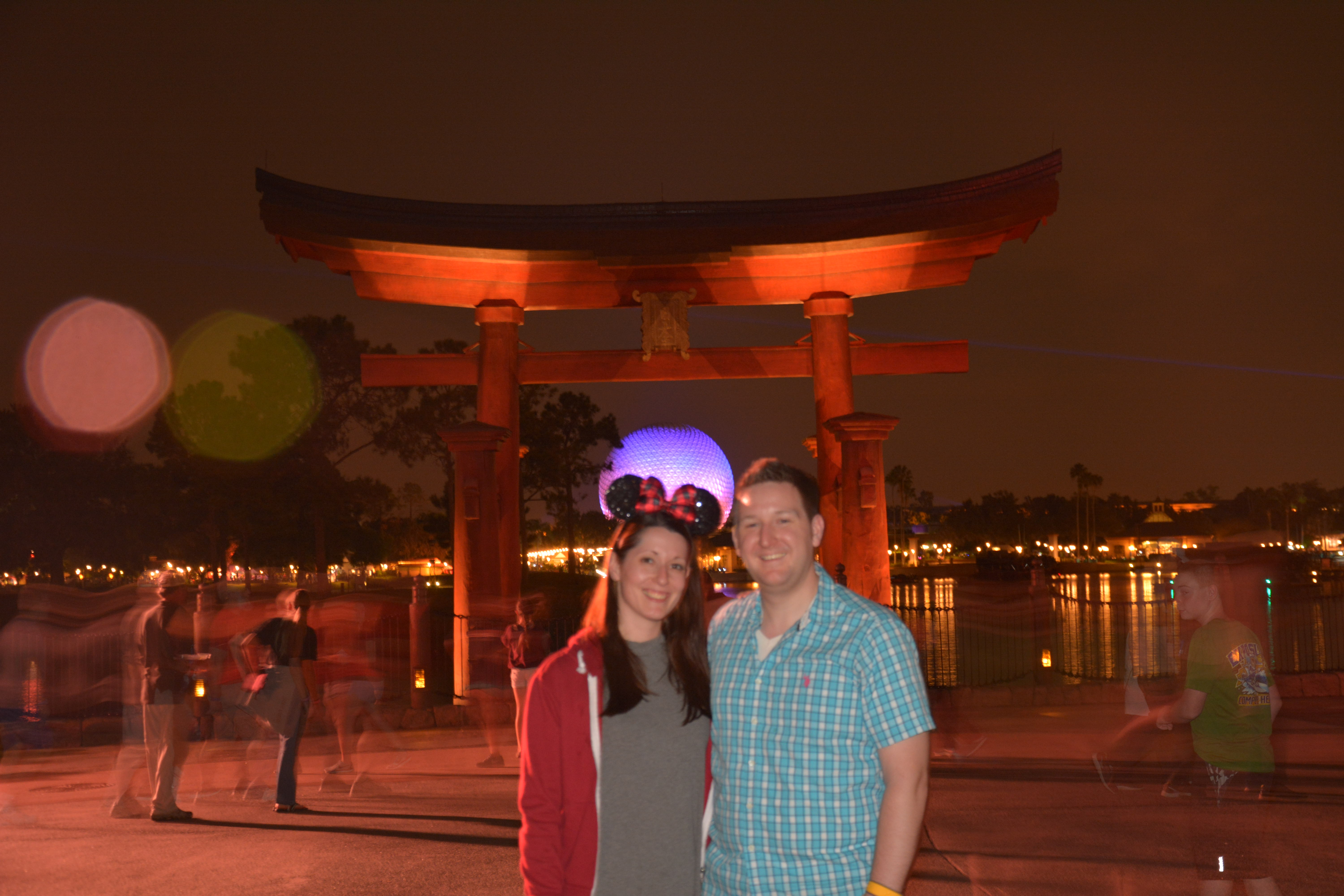 Ryan and Lauren in Japan at Epcot in front of the Torii