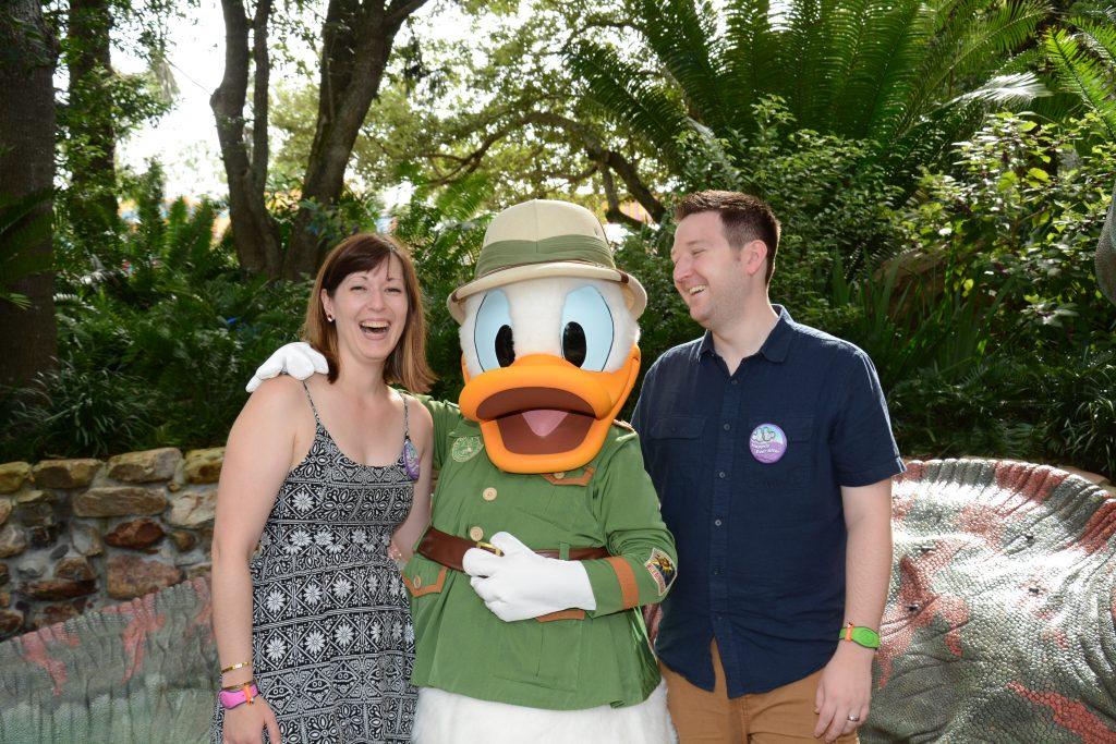 Lauren and Ryan with Safari Donald in Animal Kingdom