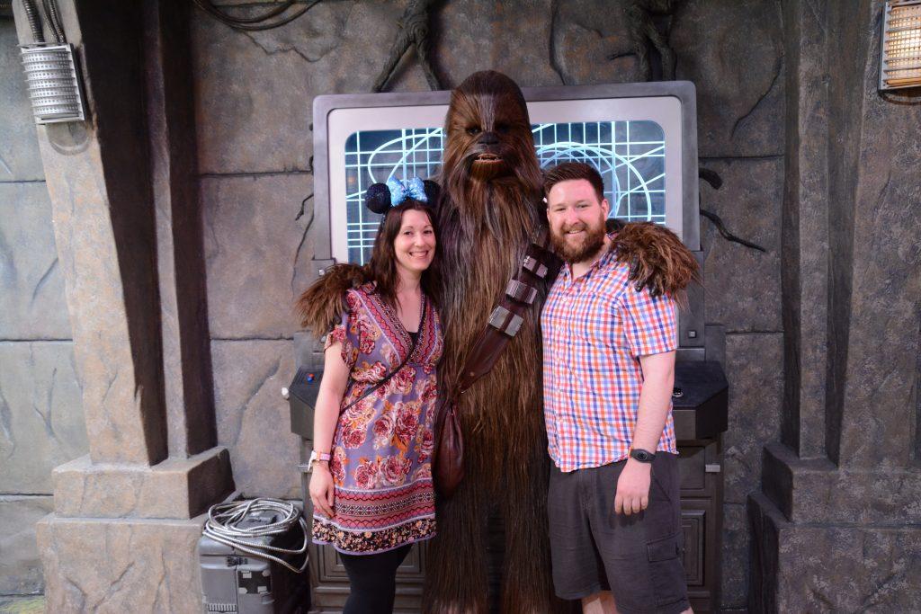 Lauren and Ryan meeting Chewbacca in Hollywood Studios