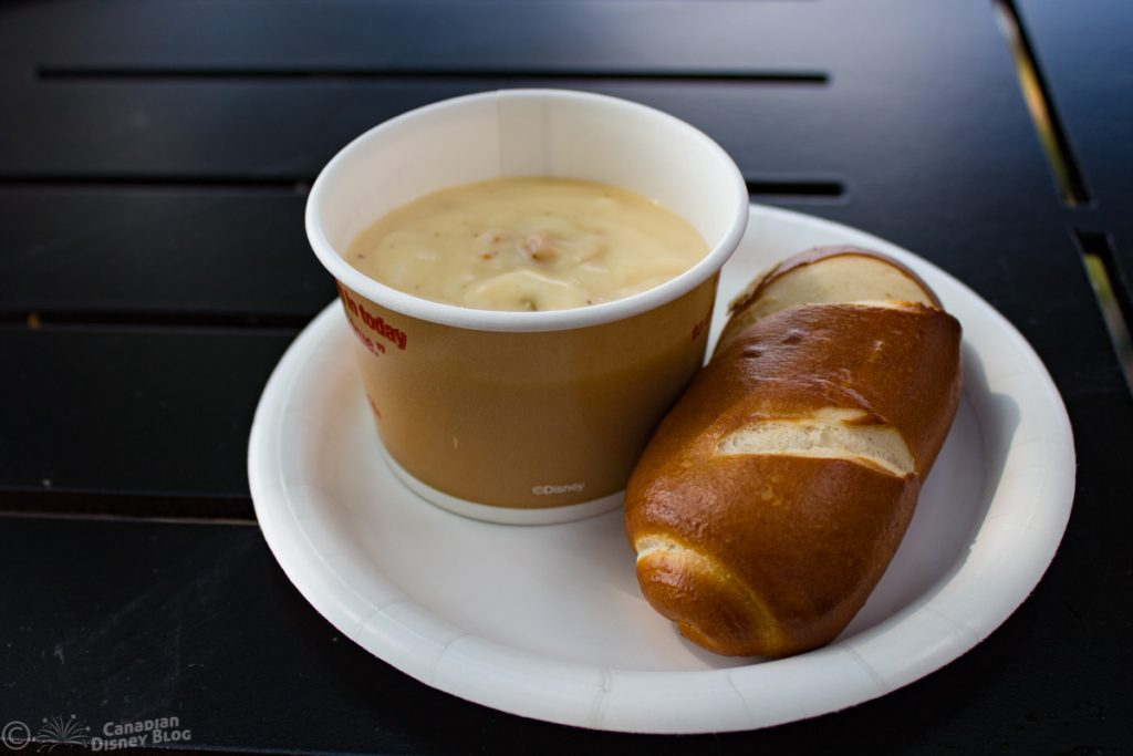 Pretzel Bread and Cheddar Soup from Canadian Pavilion Epcot Food & Wine Festival