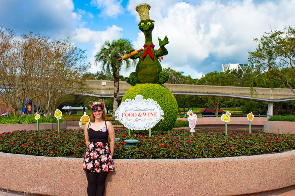 Lauren and Figment Topiary - Epcot Food & Wine Festival