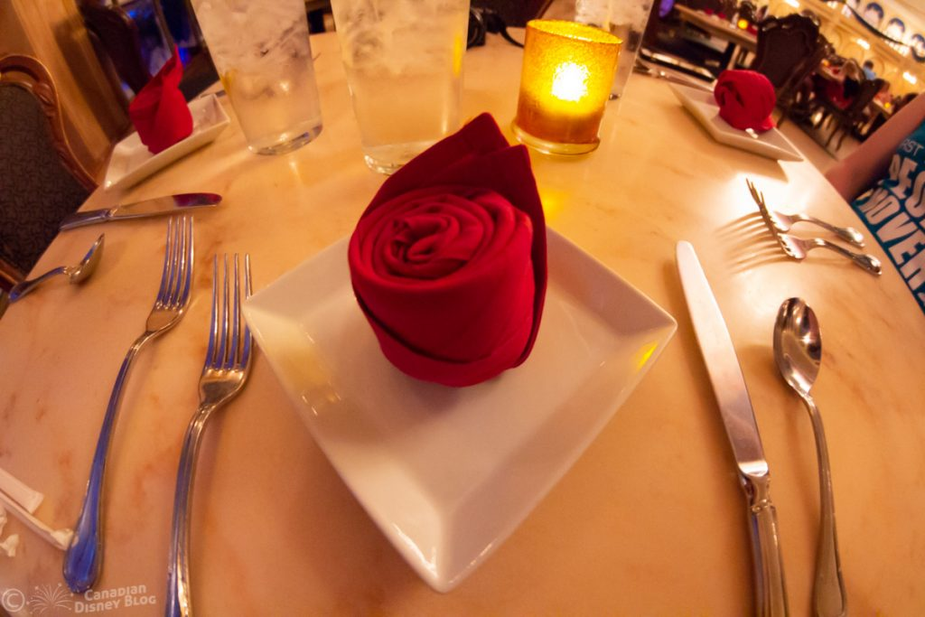 Rose Napkin from Be Our Guest Restaurant