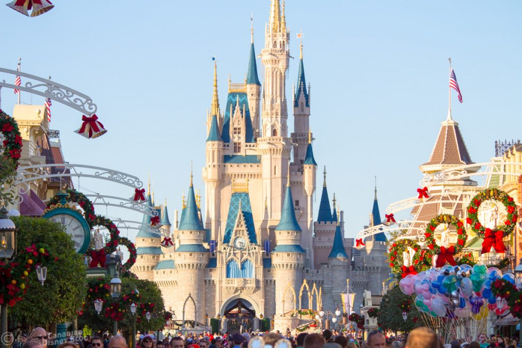 Cinderella Castle during Christmas time