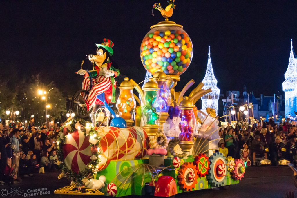 Goofy Candy Float during Mickey's Once Upon a Christmastime Parade