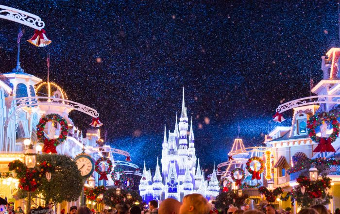 Snowing on Main Street with Cinderella Castle