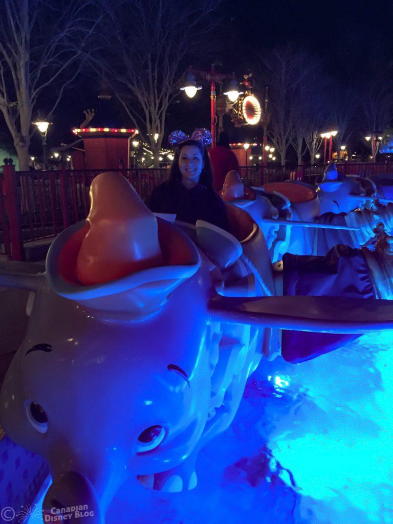 Lauren on Dumbo at Night