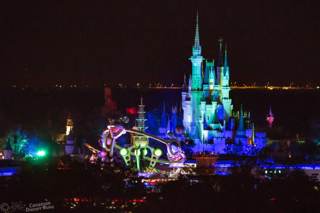 Cinderella Castle and Astro Orbiter at Night