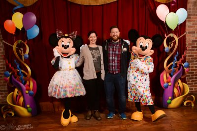 Ryan and Lauren meet Mickey and Minnie at Town Square Theater