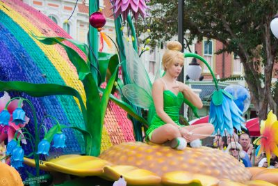 Tinker Bell in the Festival of Fantasy Parade at Magic Kingdom