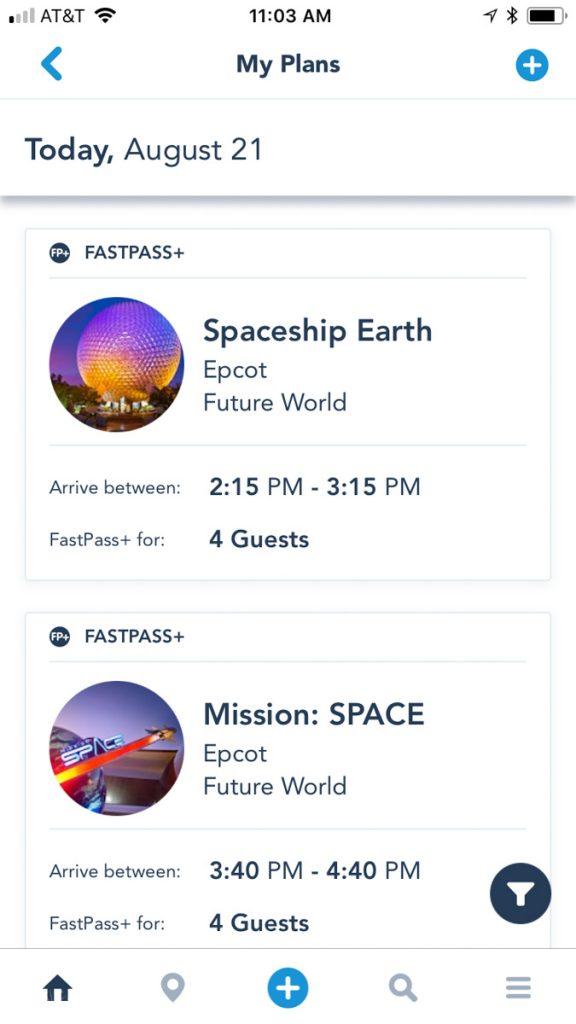 FastPass+ in My Disney Experience App