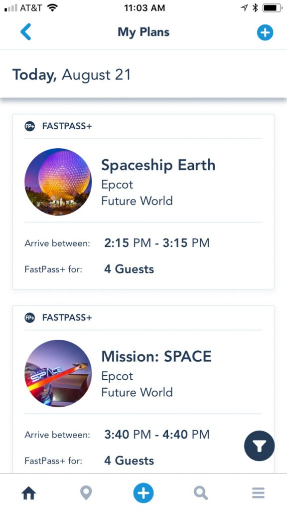 FastPass+ in My Disney Experience App