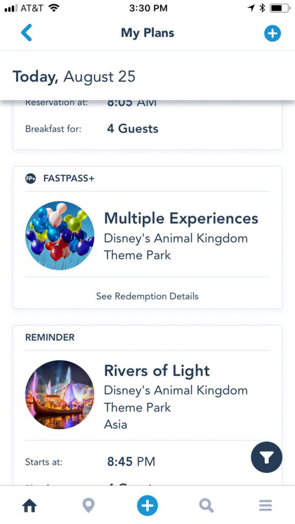 Multiple Experiences FastPass+ in the My Disney Experience App
