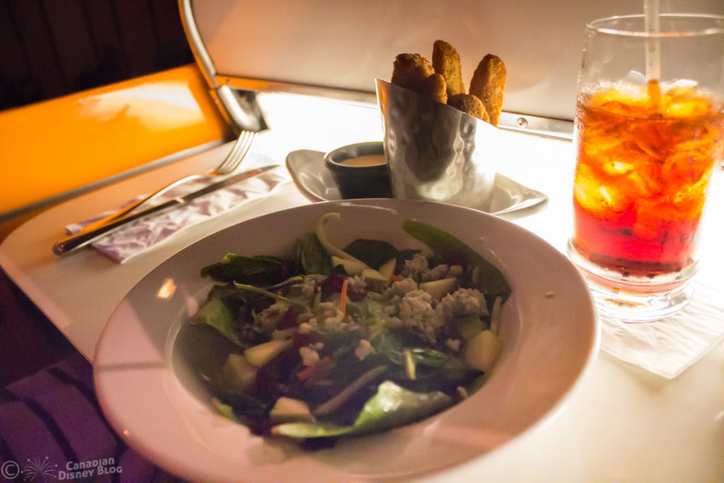Sci-Fi Dine-In Theatre Restaurant Salad and Fried Pickles