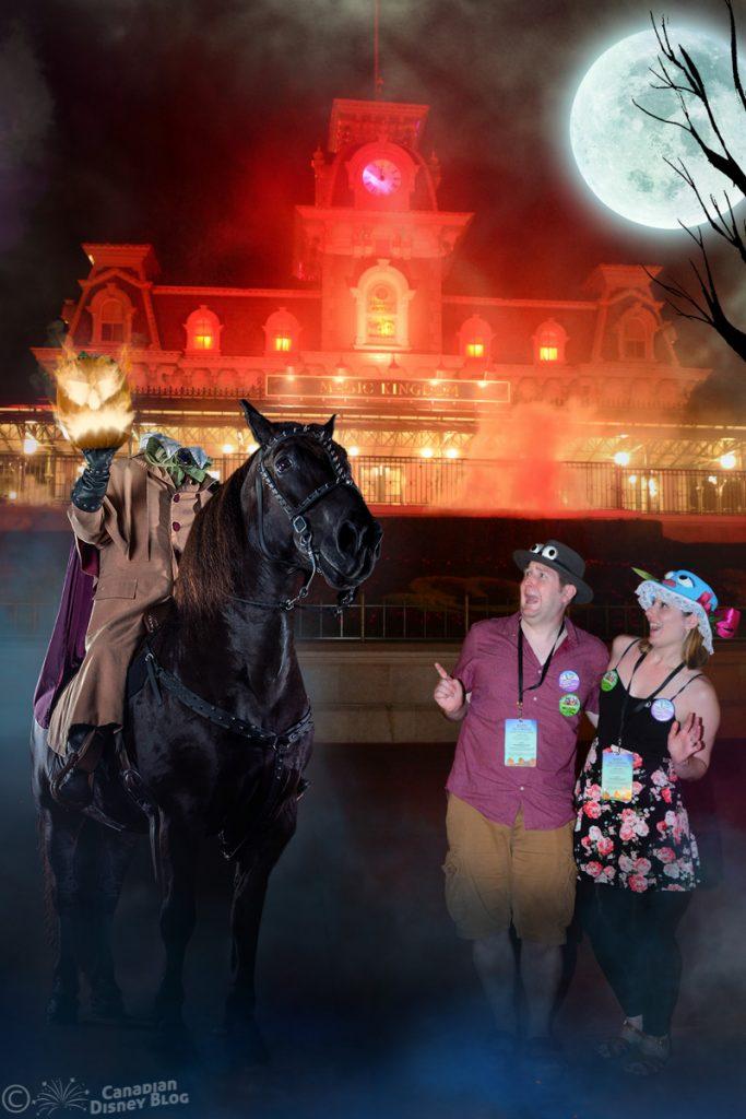 Mickey's Not So Scary Halloween Party PhotoPass Magic Shot with Headless Horseman