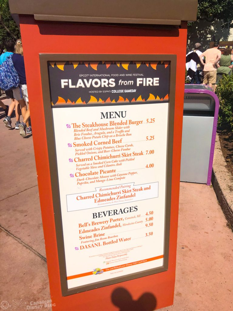 Flavors from Fire booth at Epcot Food & Wine Festival