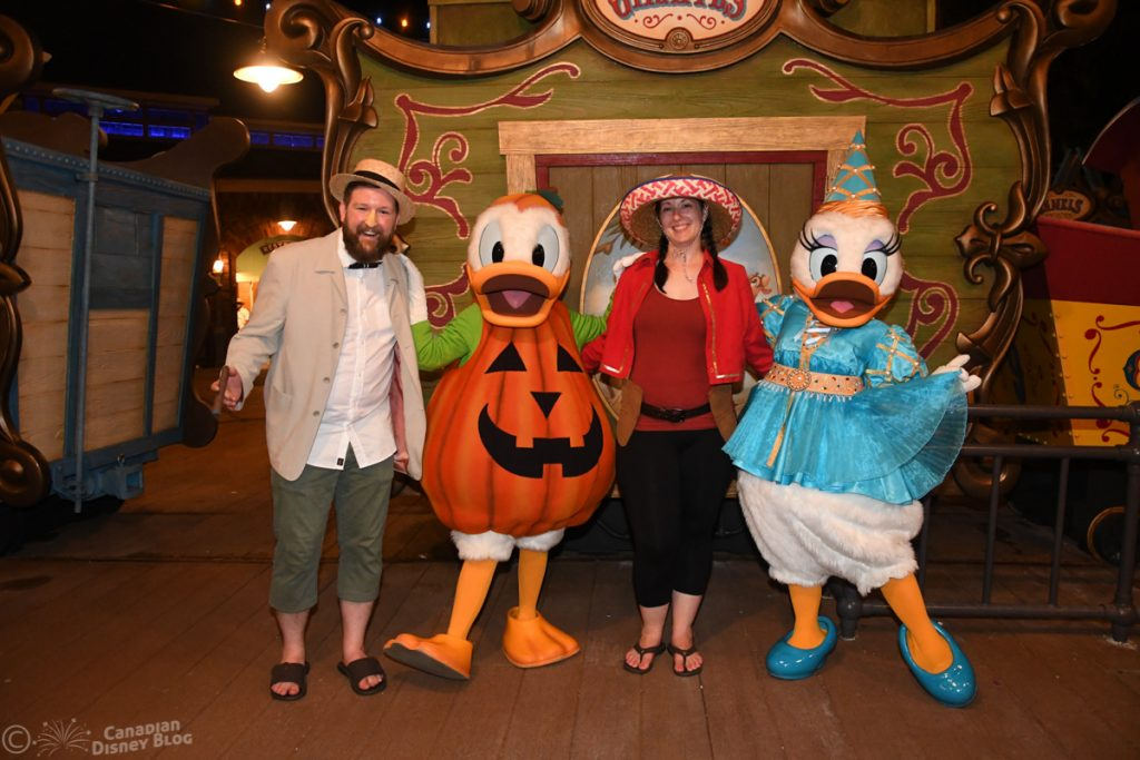 Ryan and Lauren meet Donald and Daisy at Mickey's Not So Scary Halloween Party