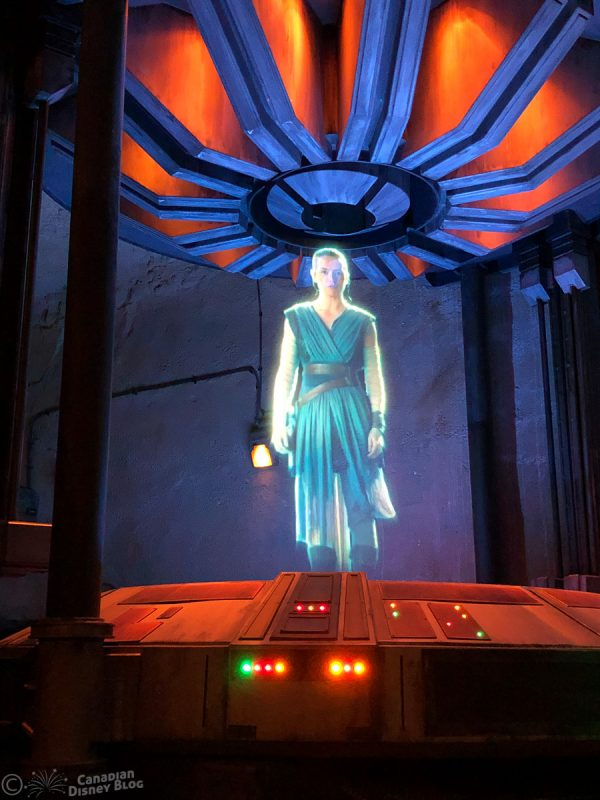 Rey Hologram from Rise of the Resistance at Star Wars Galaxy's Edge