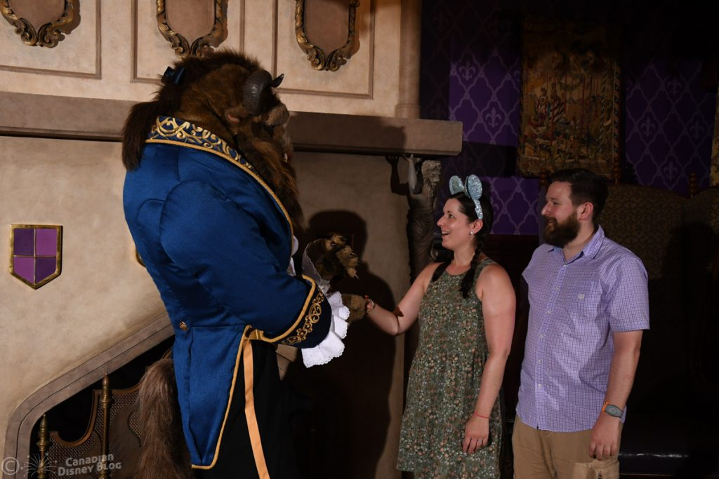 Ryan and Lauren meet the Beast at the Be Our Guest Restaurant