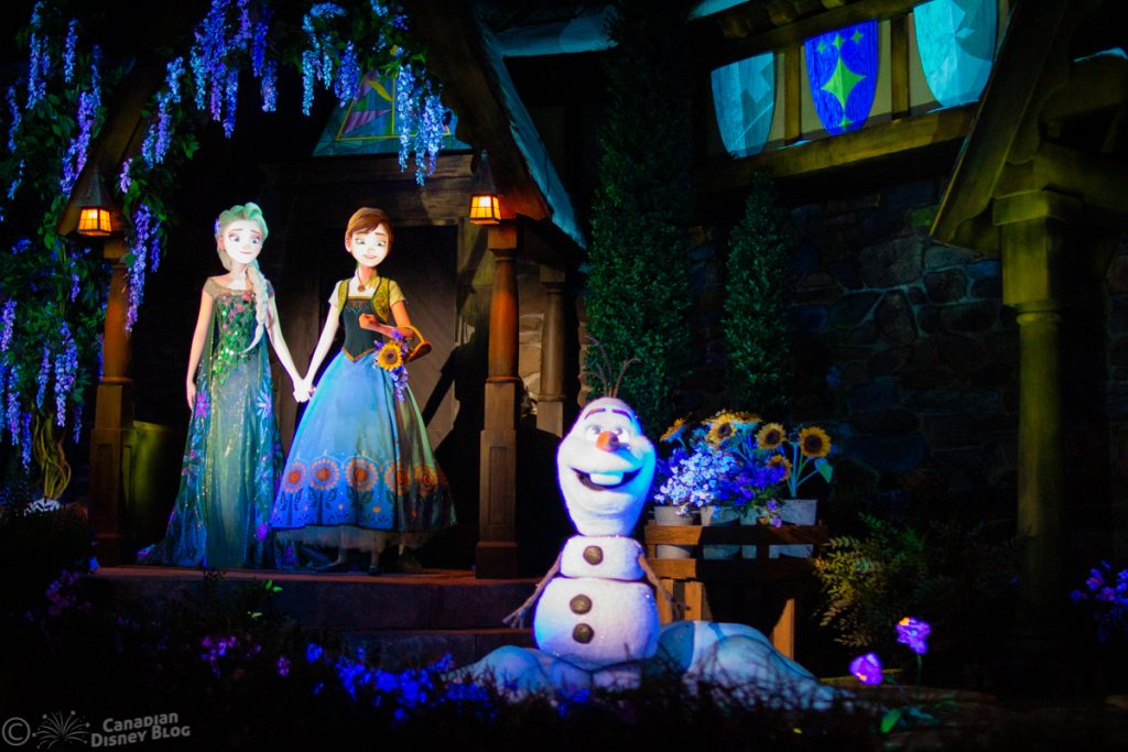 Anna, Elsa and Olaf from Frozen Ever After at Epcot
