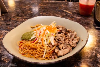 Grilled Chicken with Onion Vinaigrette and Lo Mein Noodles from Satu'li Canteen in Disney's Animal Kingdom