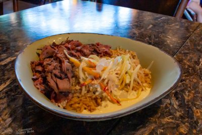 Grilled Beef with Creamy Herb Dressing on Rice from Satu'li Canteen in Disney's Animal Kingdom