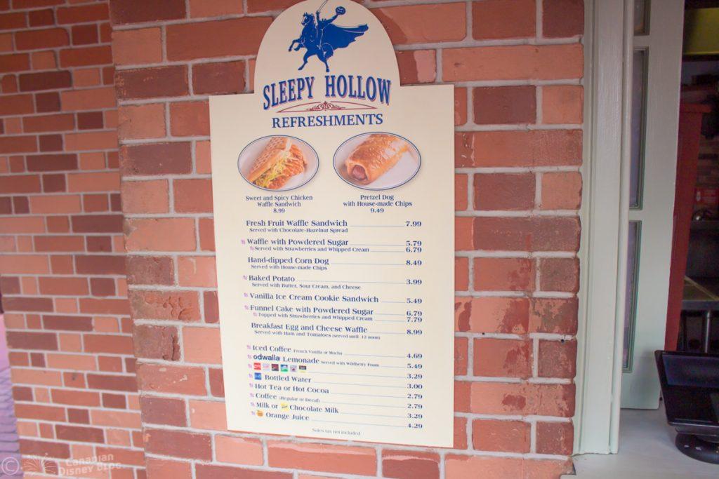 Sleepy Hollow Menu in the Magic Kingdom